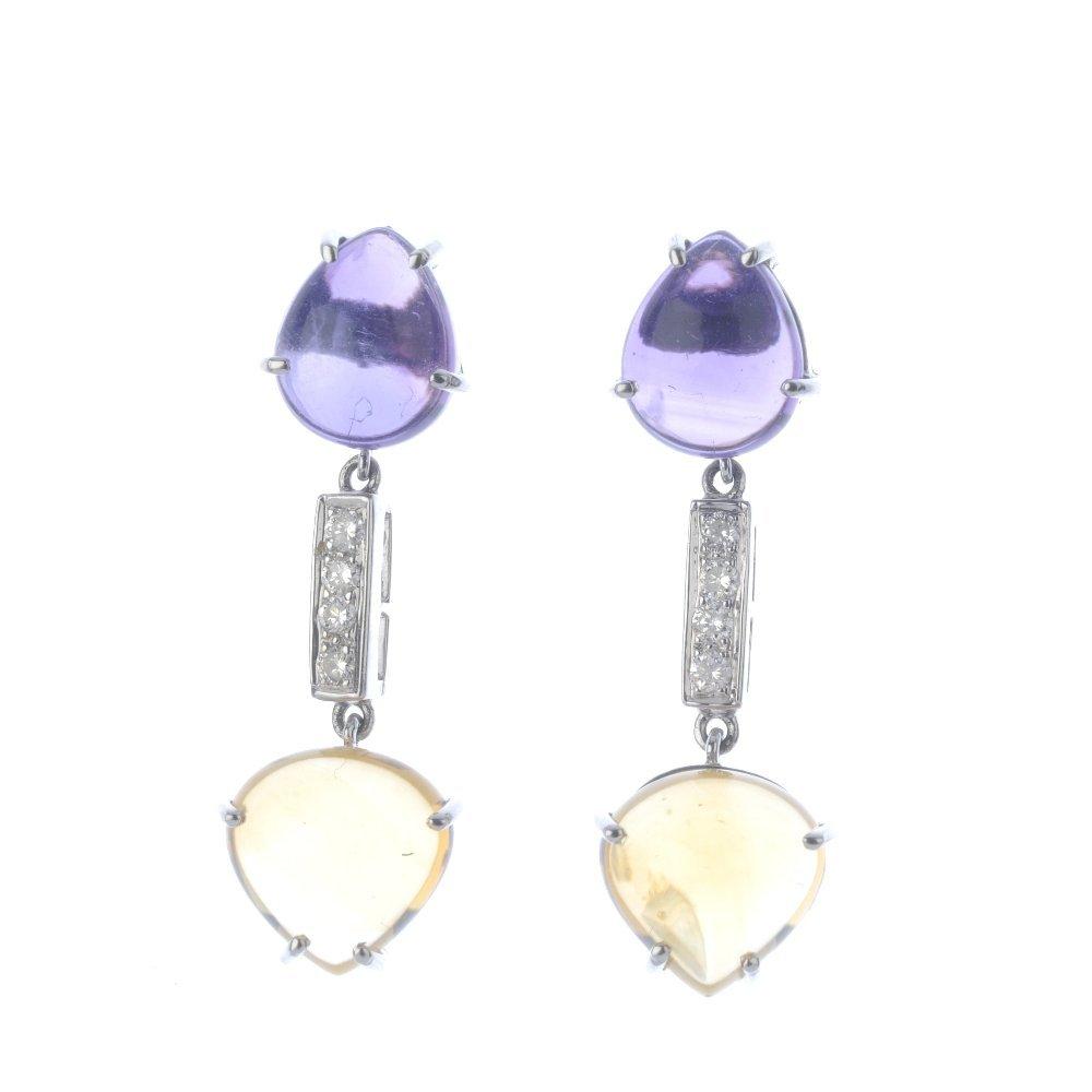 A pair of diamond, amethyst and citrine earrings. Each
