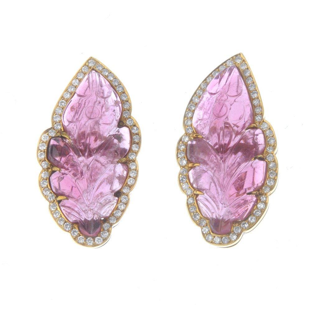 A pair of tourmaline and diamond earrings. Each