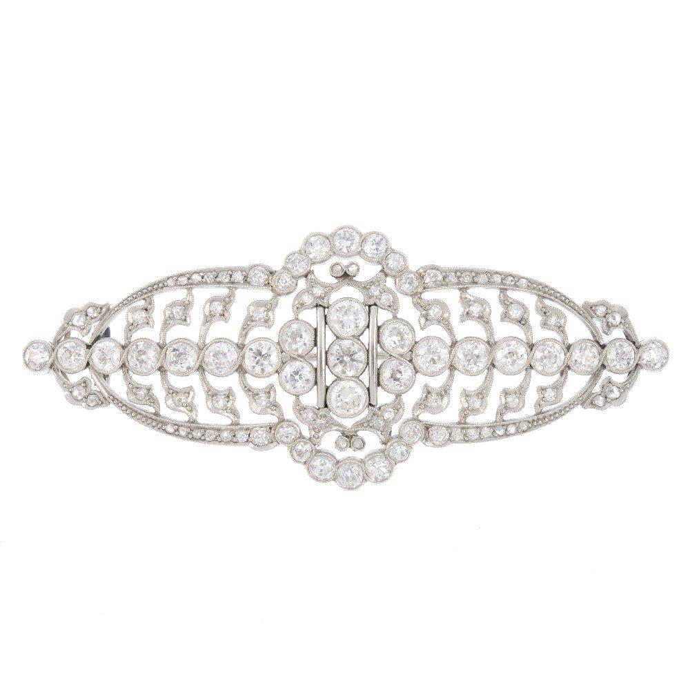 A mid 20th century diamond brooch. Of openwork design,