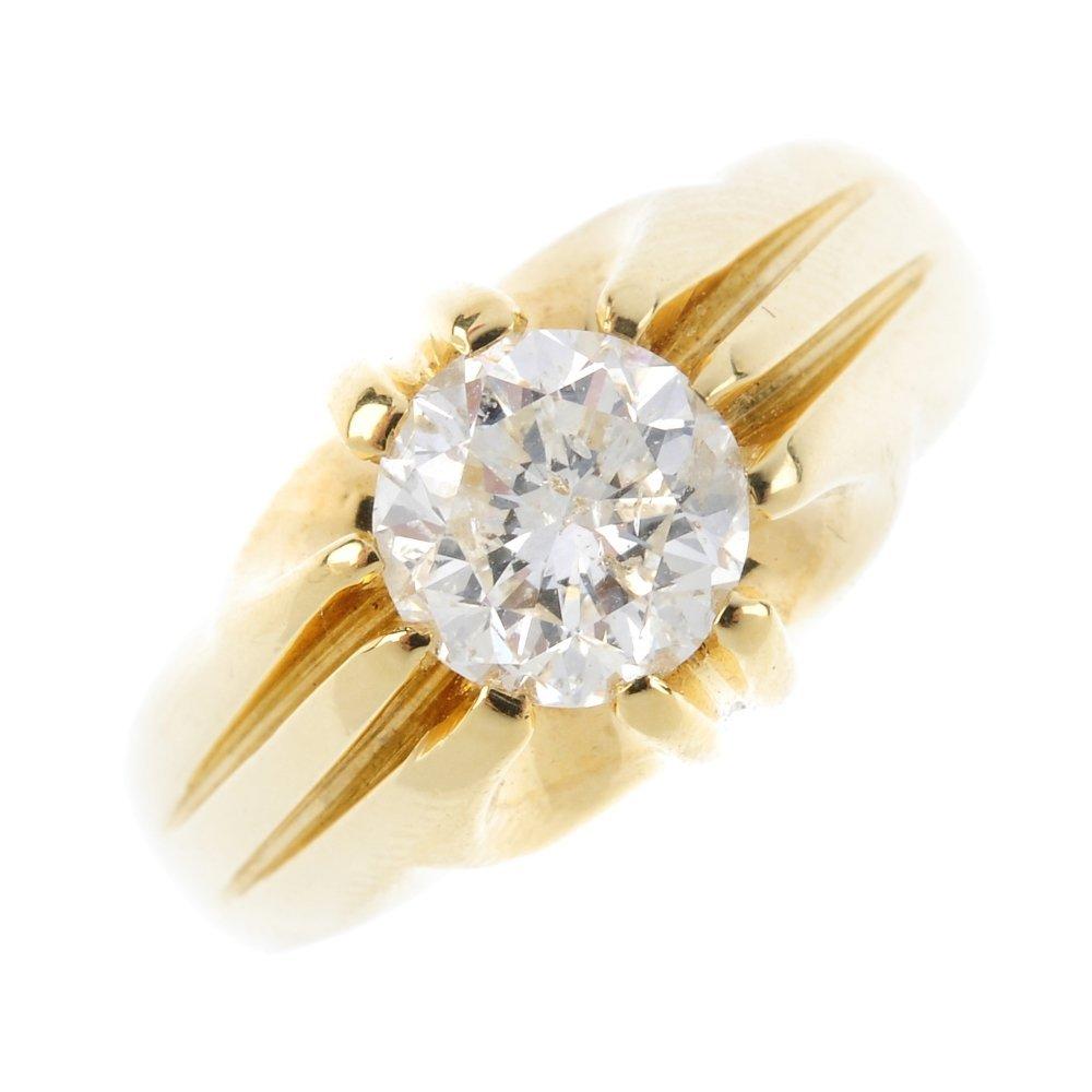 A gentleman's 18ct gold diamond single-stone ring. The
