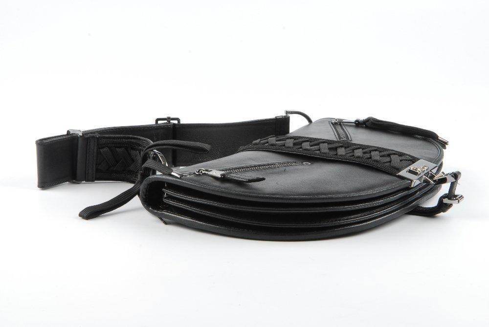 CHRISTIAN DIOR - a black leather braided handbag. - 5