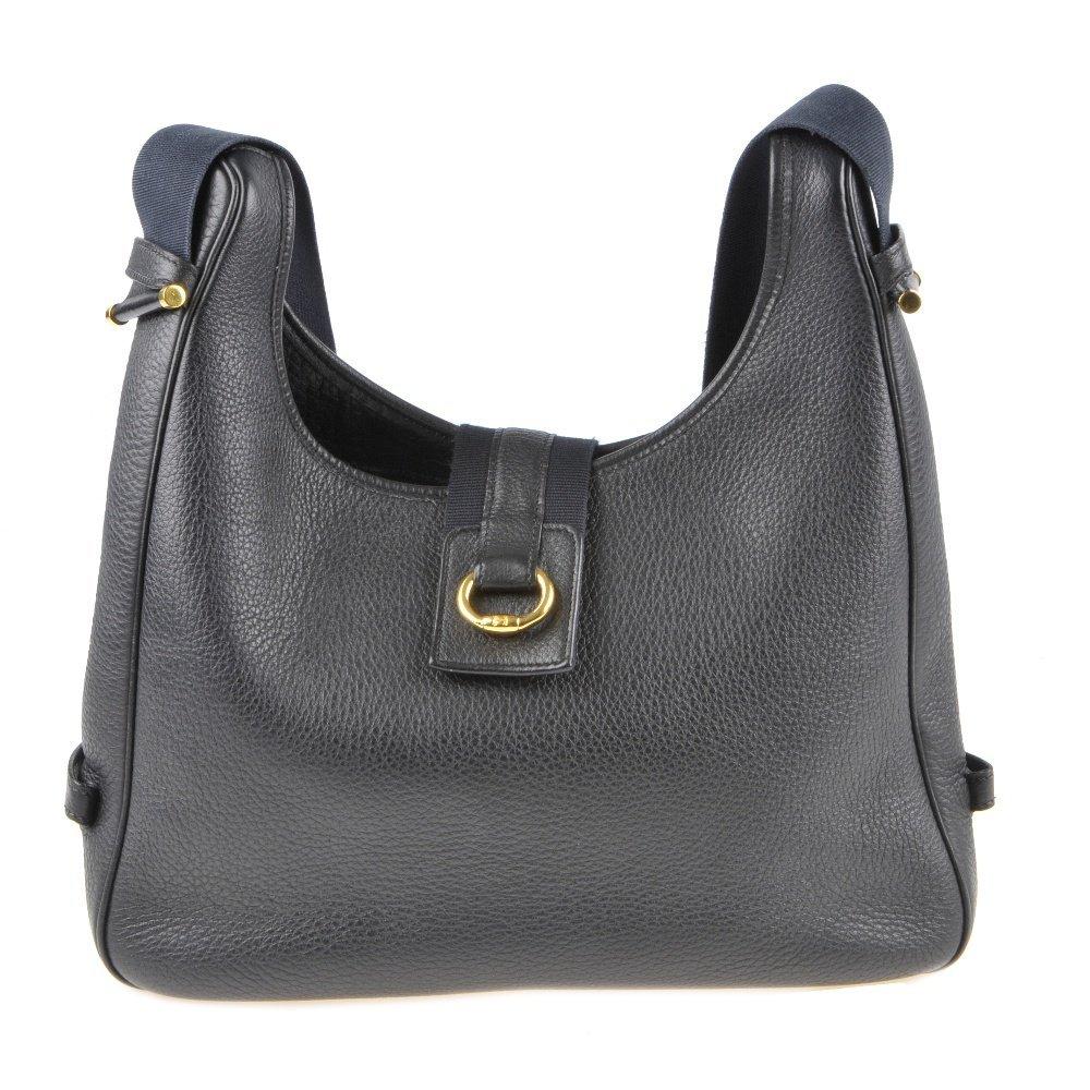 HERMES - a Sako handbag. Designed with a grained black
