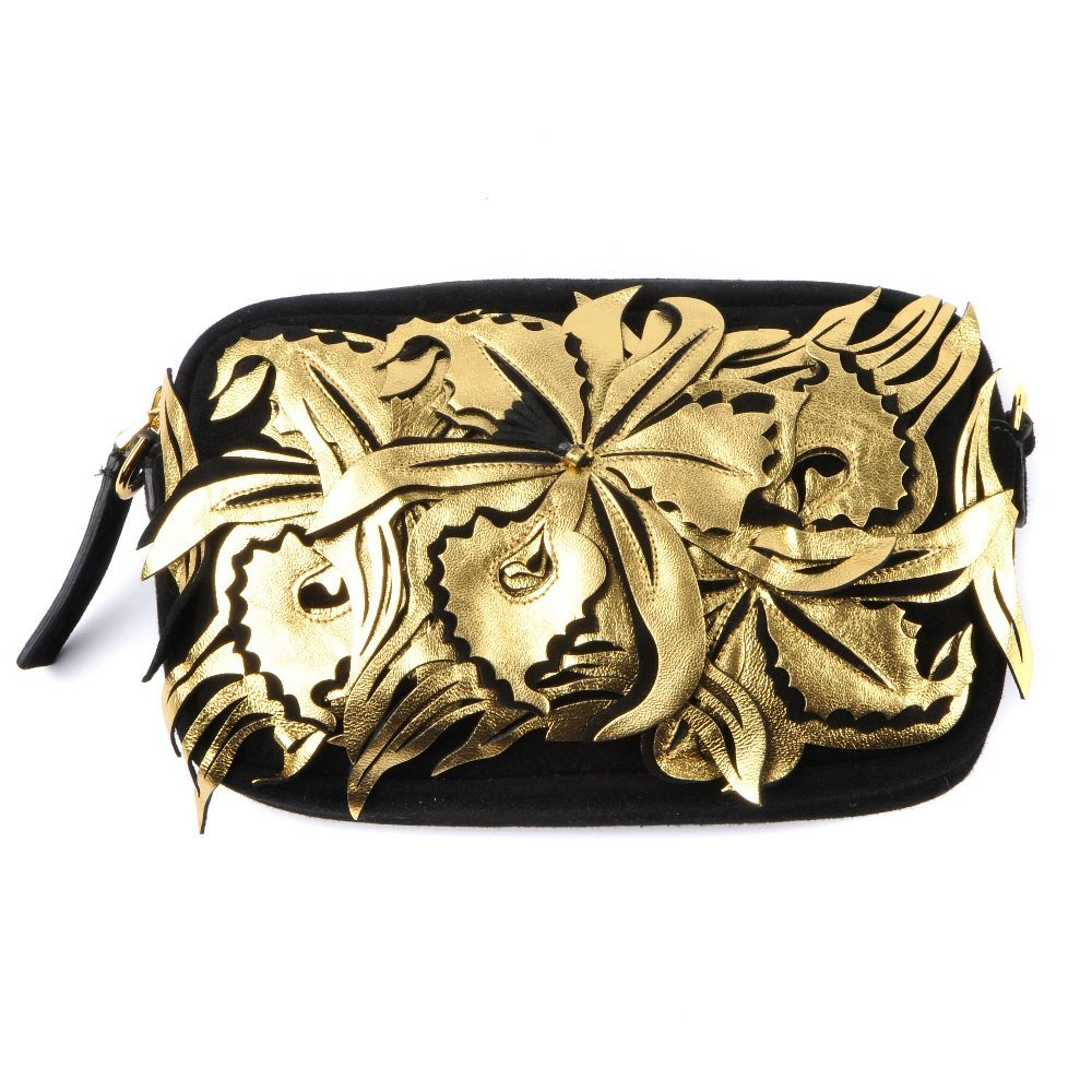 MARNI - a Flower Appliqu camera handbag. With a black