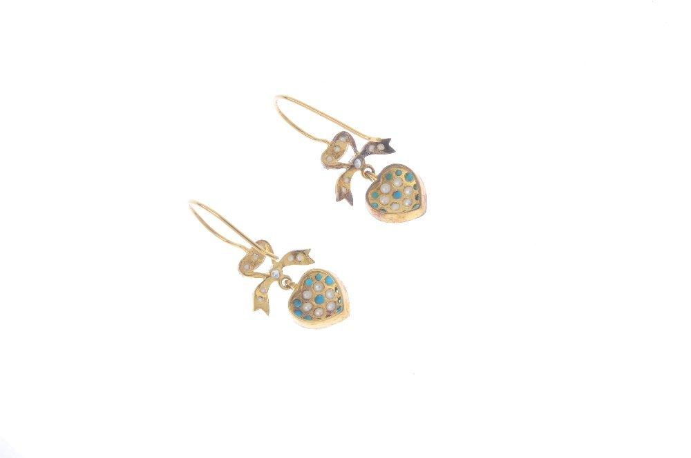 A pair of diamond and gem-set earrings. Each designed - 2