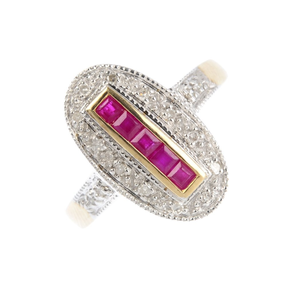 A 9ct gold ruby and diamond dress ring. The