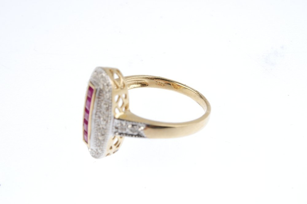 A 9ct gold ruby and diamond dress ring. The - 3
