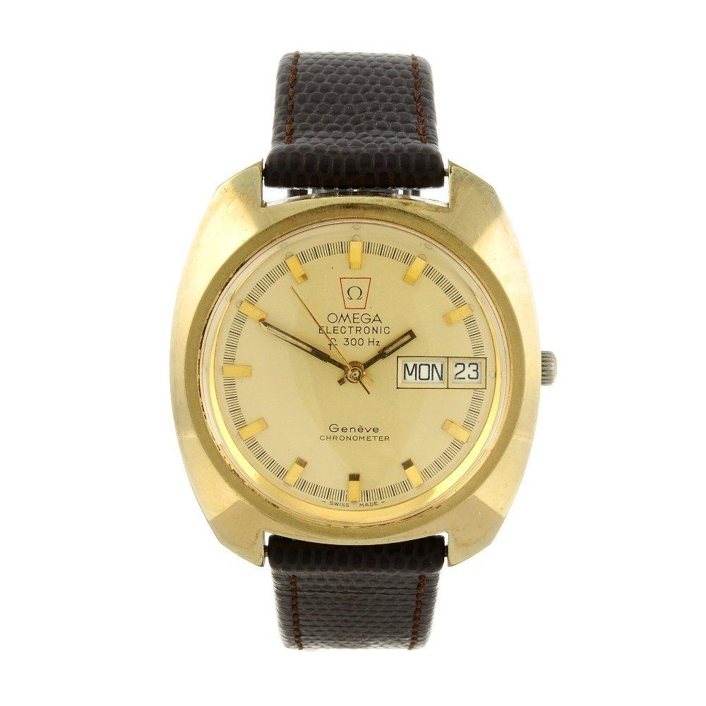 OMEGA - a gentleman's Genve F300Hz wrist watch. Gold