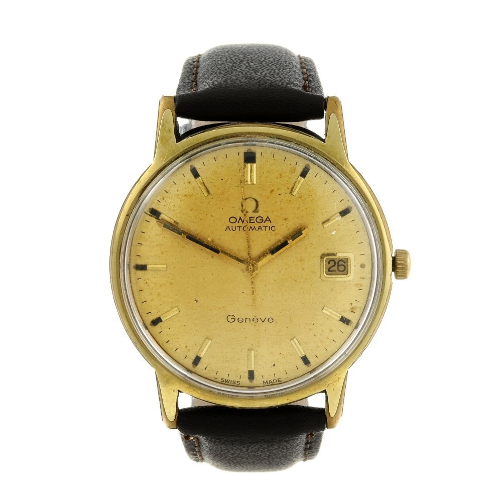 OMEGA - a gentleman's Genve wrist watch. Gold plated