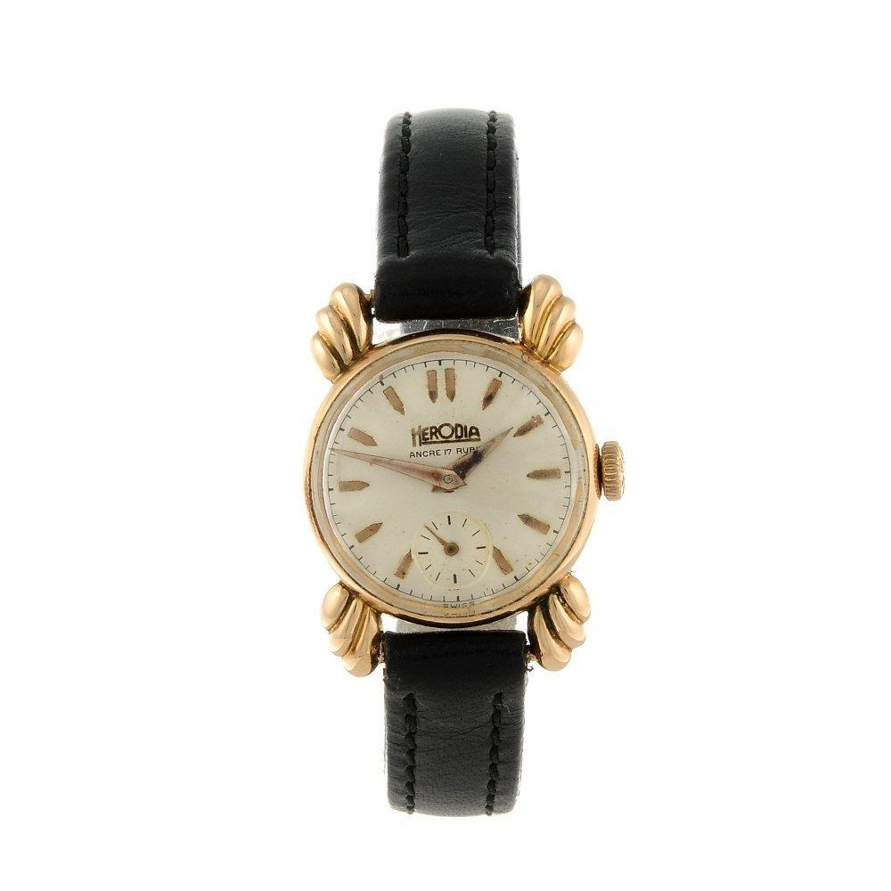 HERODIA - a lady's wrist watch. Yellow metal case,