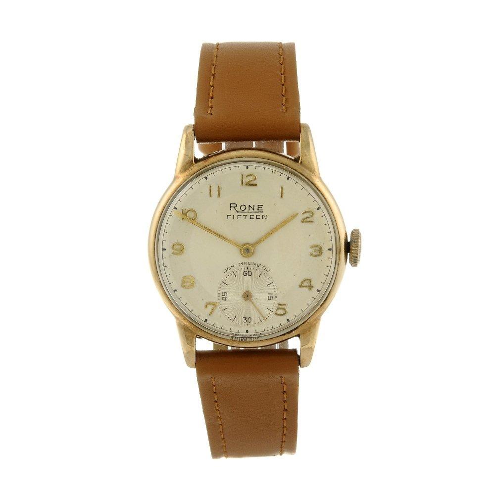 RONE - a gentleman's wrist watch. 9ct yellow gold case,