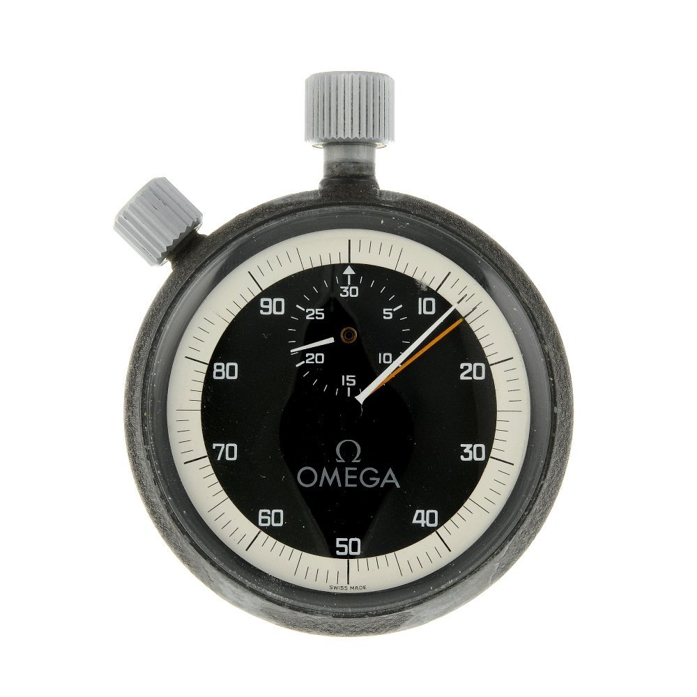 An open face stopwatch by Omega. Coated base metal case
