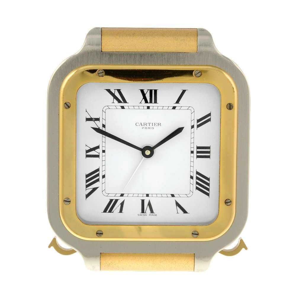 A Santos alarm clock by Cartier. Bi-colour case.