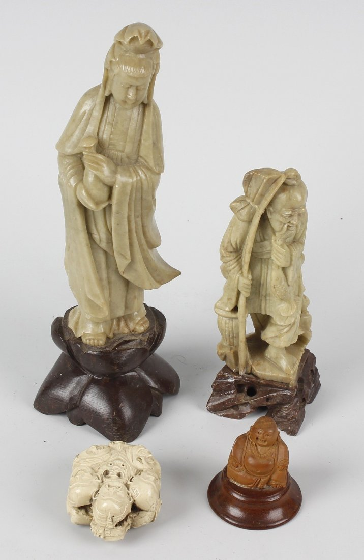 A group of Oriental cabinet items, comprising: two