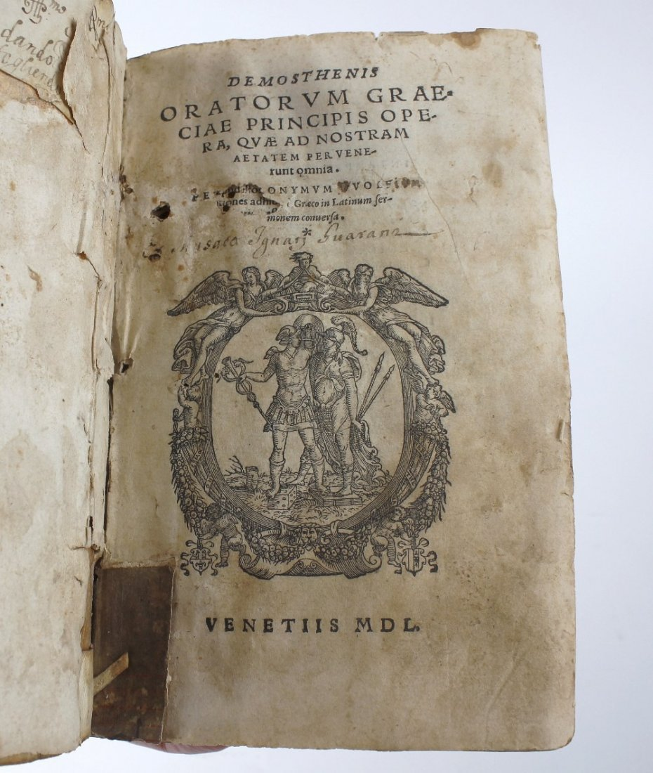 A 16th century vellum-bound book, 'Demosthenis,
