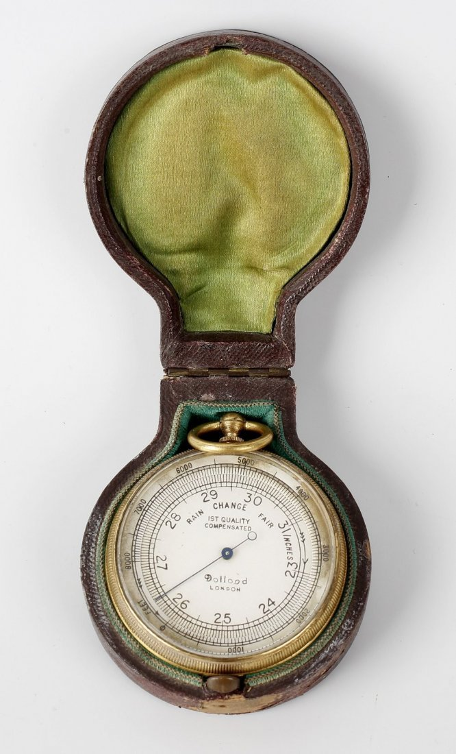 A Dolland of London gilt metal cased pocket barometer,
