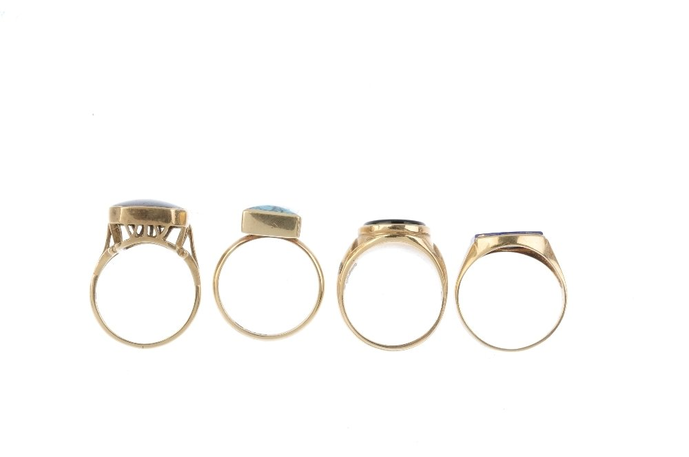 Four 9ct gold gem-set rings. To include a lapis lazuli - 2