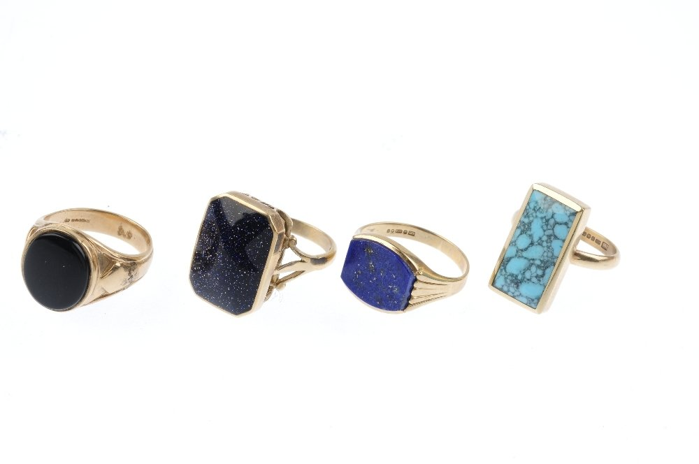 Four 9ct gold gem-set rings. To include a lapis lazuli - 3
