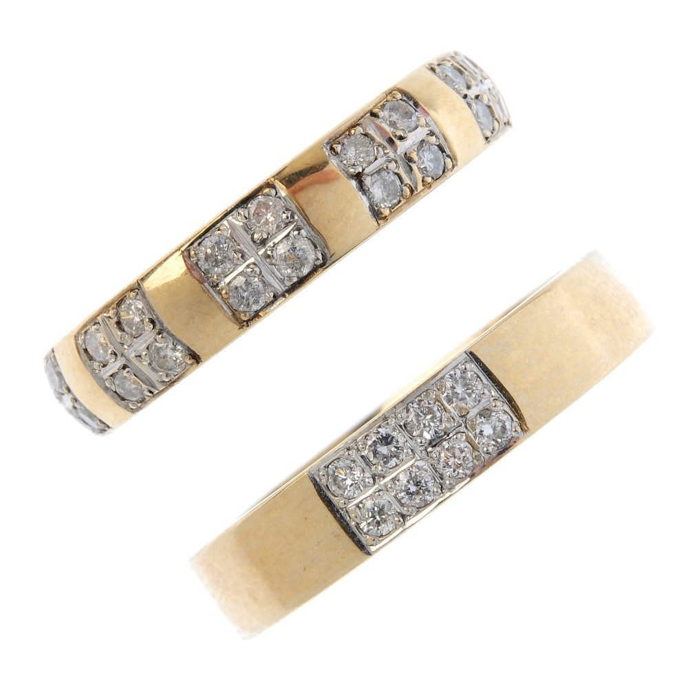 Three 9ct gold diamond band rings. To include a diamond