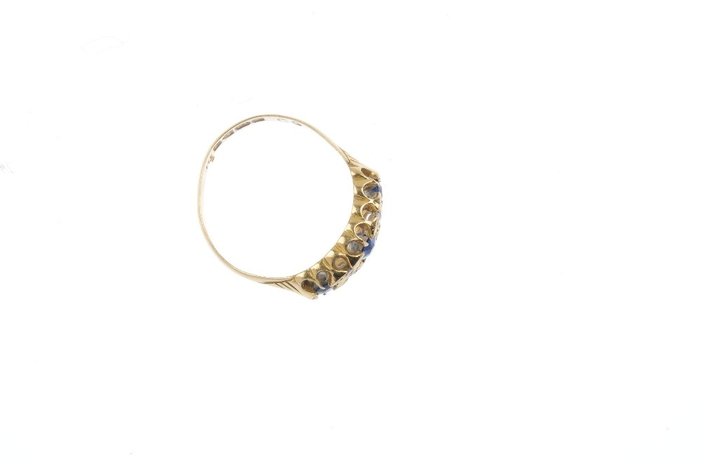 An Edwardian 18ct gold sapphire and diamond ring. The - 2