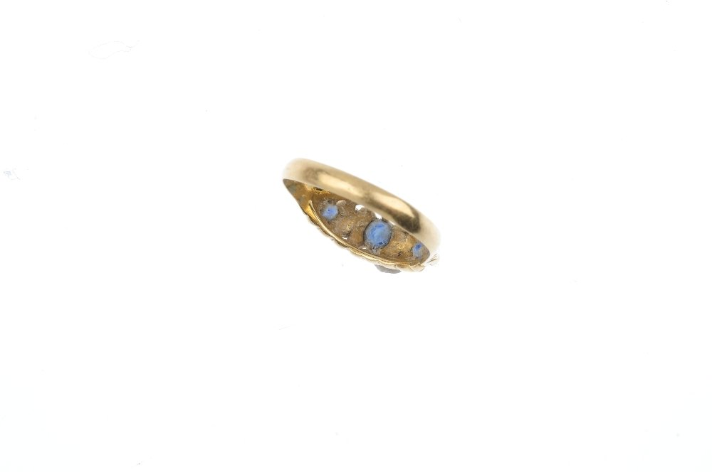 An Edwardian 18ct gold sapphire and diamond ring. The - 3