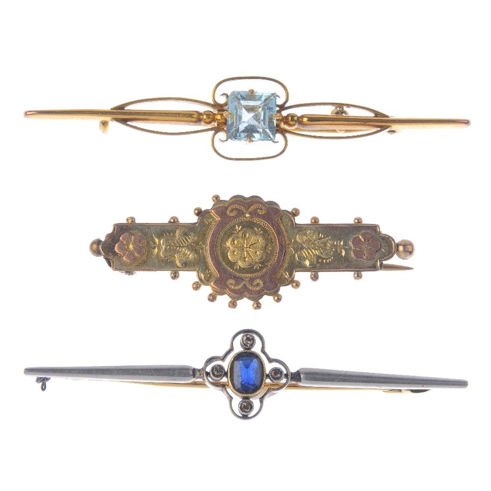 Three brooches. To include a late Victorian 9ct gold