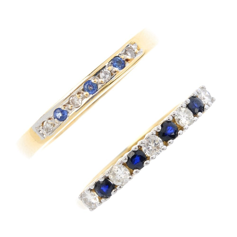 Two gold sapphire and diamond half-circle eternity