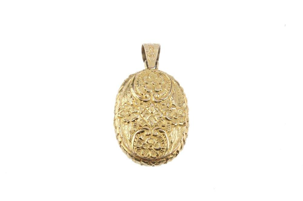 A 9ct gold gem-set locket. Of oval-outline, the - 2