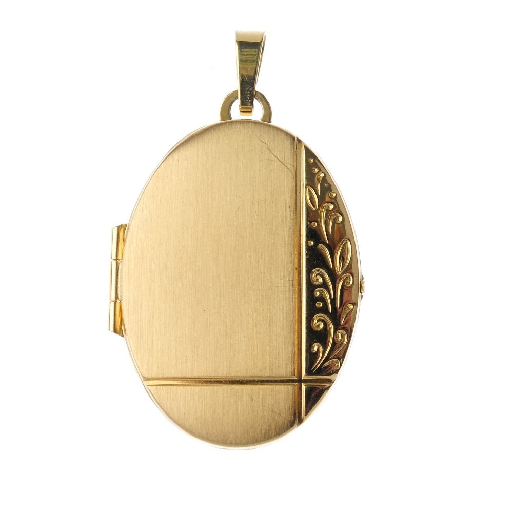 Three lockets. To include a 9ct gold oval-shape locket,