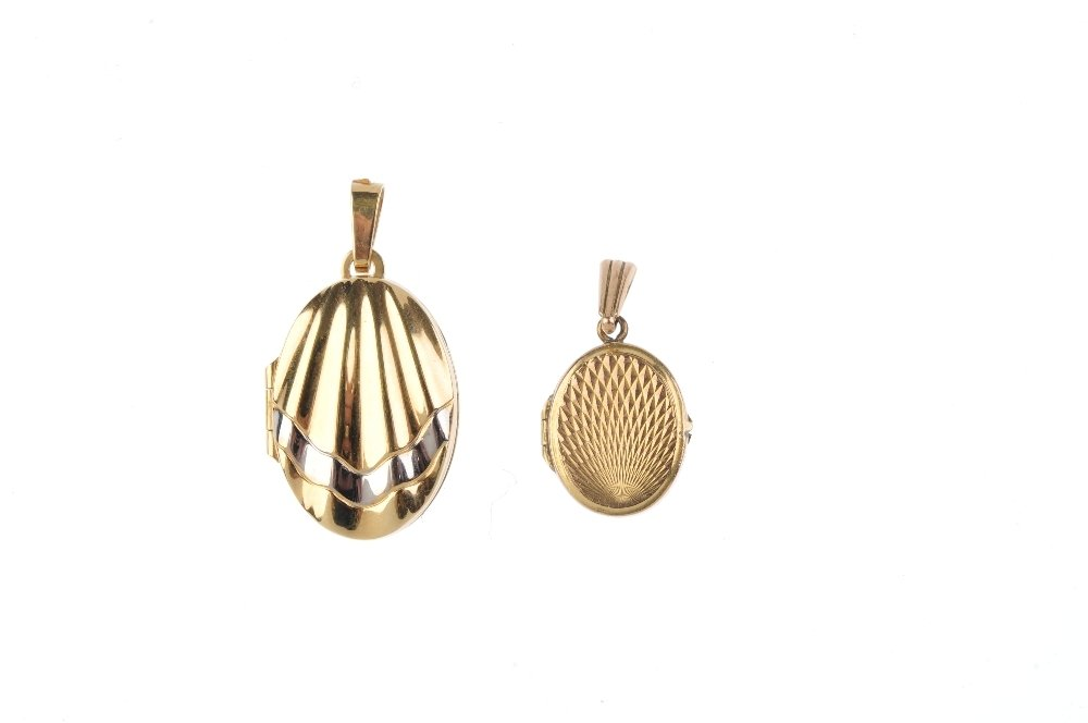 Three lockets. To include a 9ct gold oval-shape locket, - 2