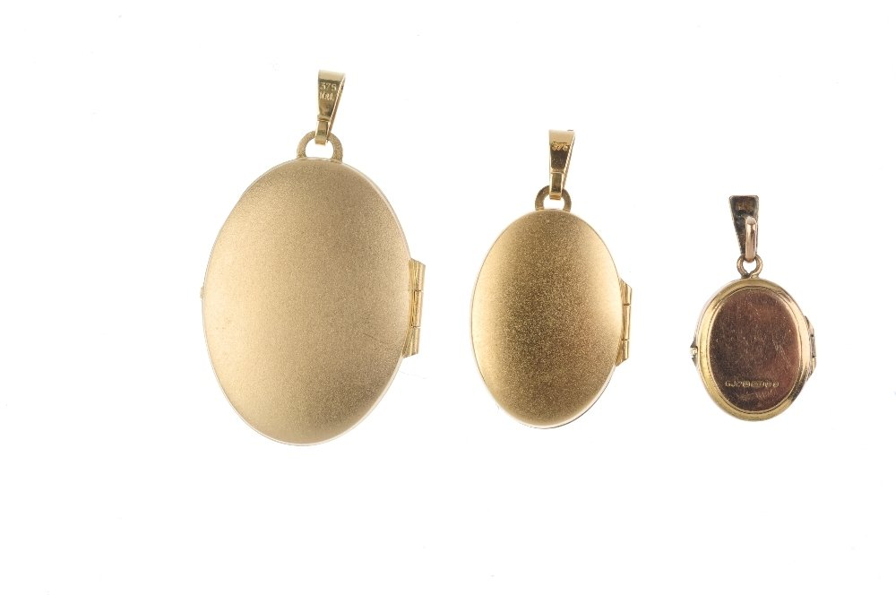 Three lockets. To include a 9ct gold oval-shape locket, - 3