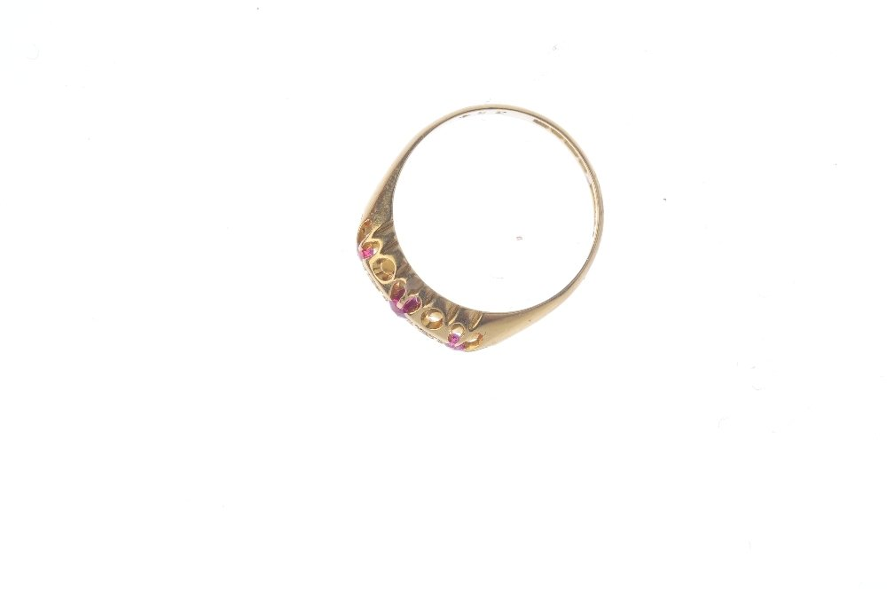 A 1920s 18ct gold ruby and diamond dress ring. The - 2