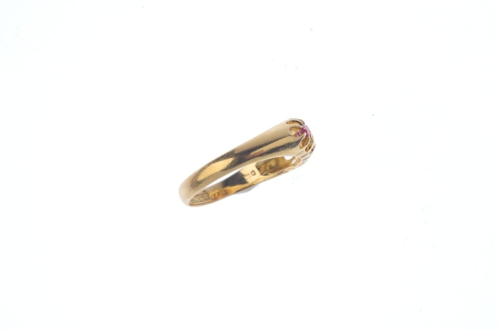 A 1920s 18ct gold ruby and diamond dress ring. The - 3
