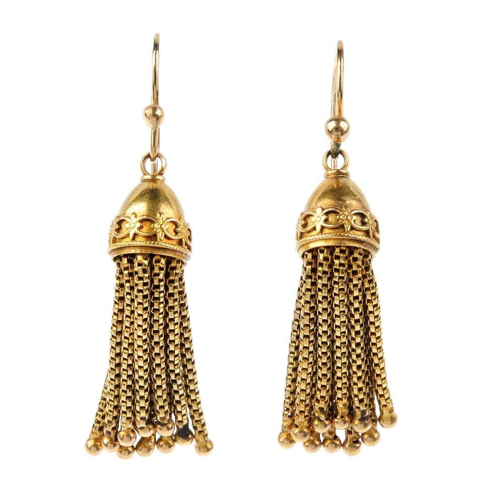 A pair of late Victorian tassel earrings, circa 1880.