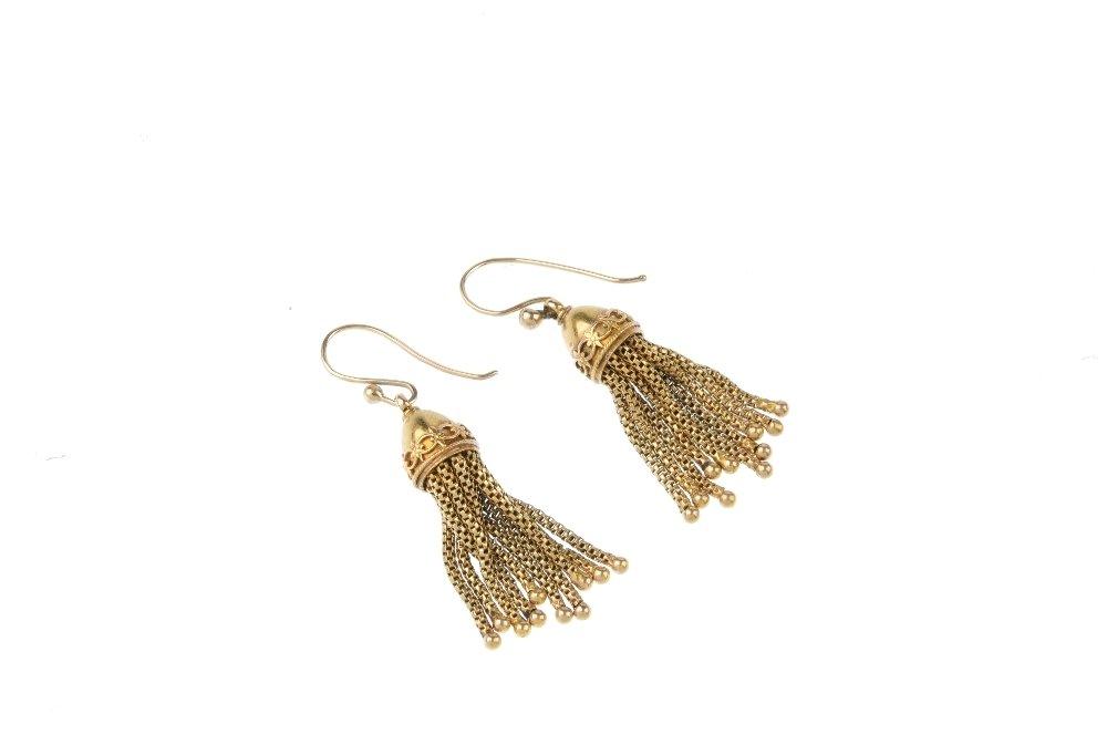 A pair of late Victorian tassel earrings, circa 1880. - 2