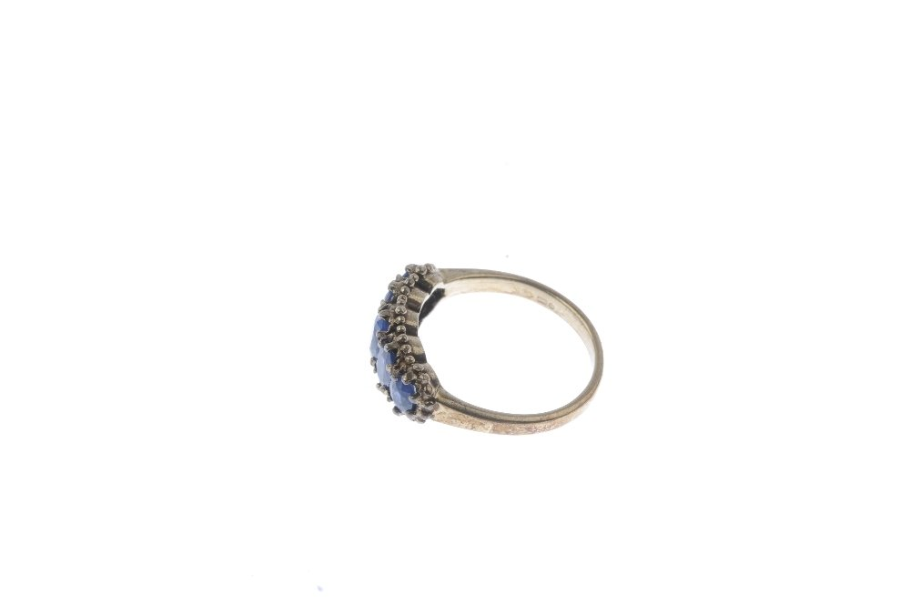 A 9ct gold sapphire five-stone ring. The graduated - 3