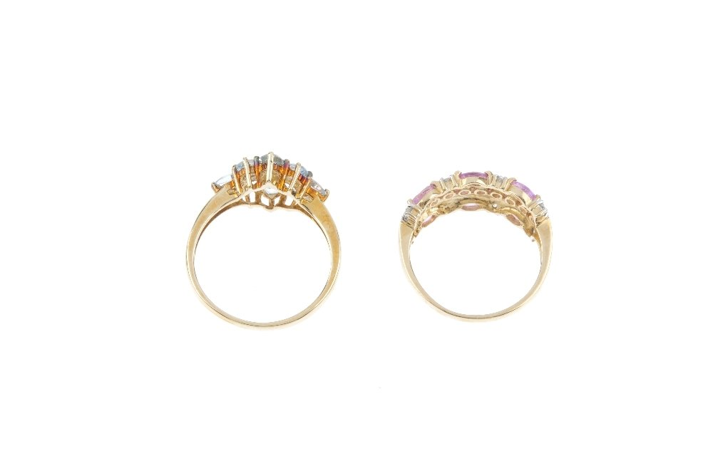 Four gold gem-set rings. To include an 18ct gold - 3