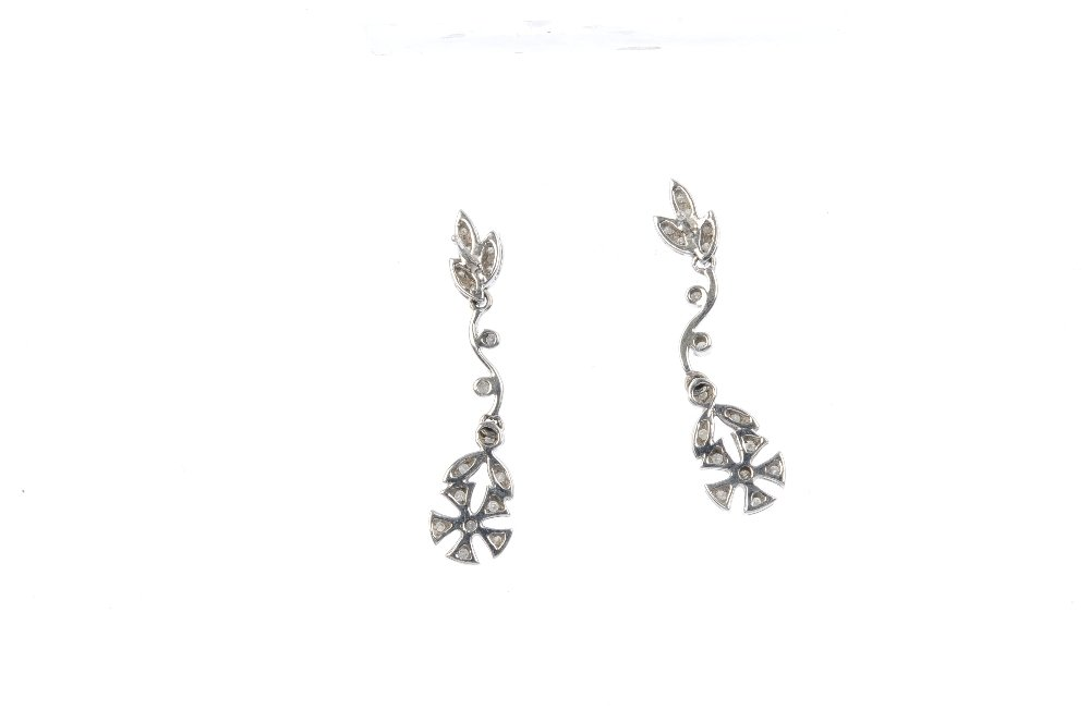 Two pairs of gold diamond and gem-set earrings. To - 2