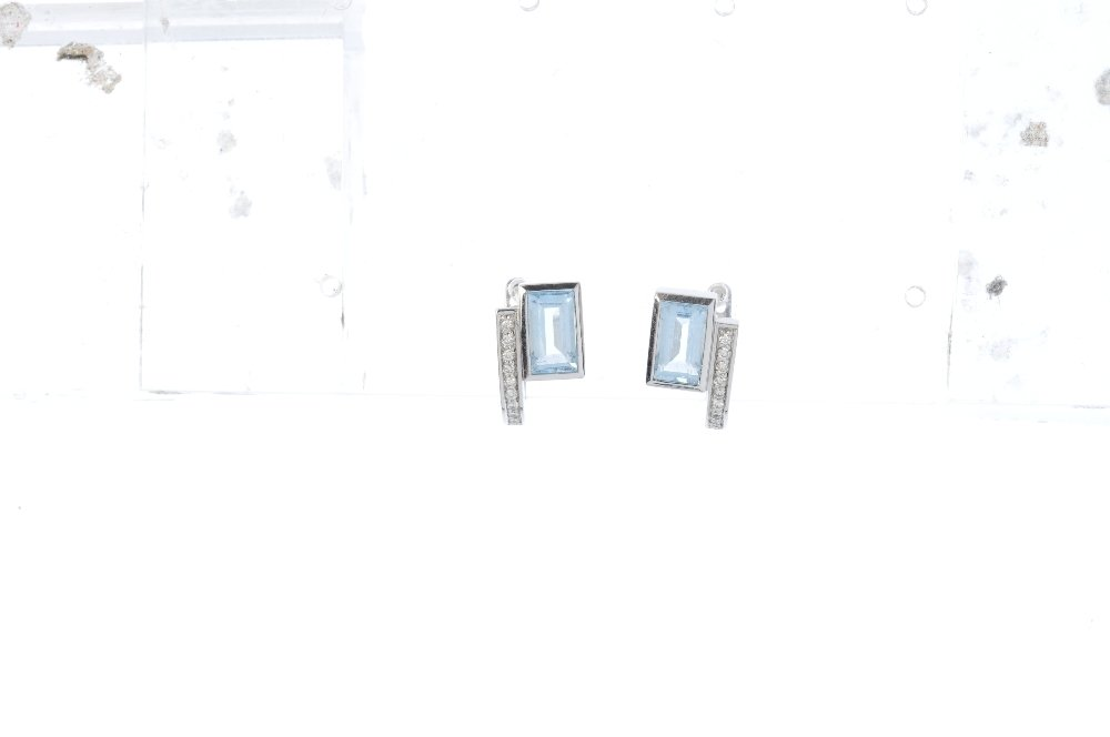 Two pairs of gold diamond and gem-set earrings. To - 3