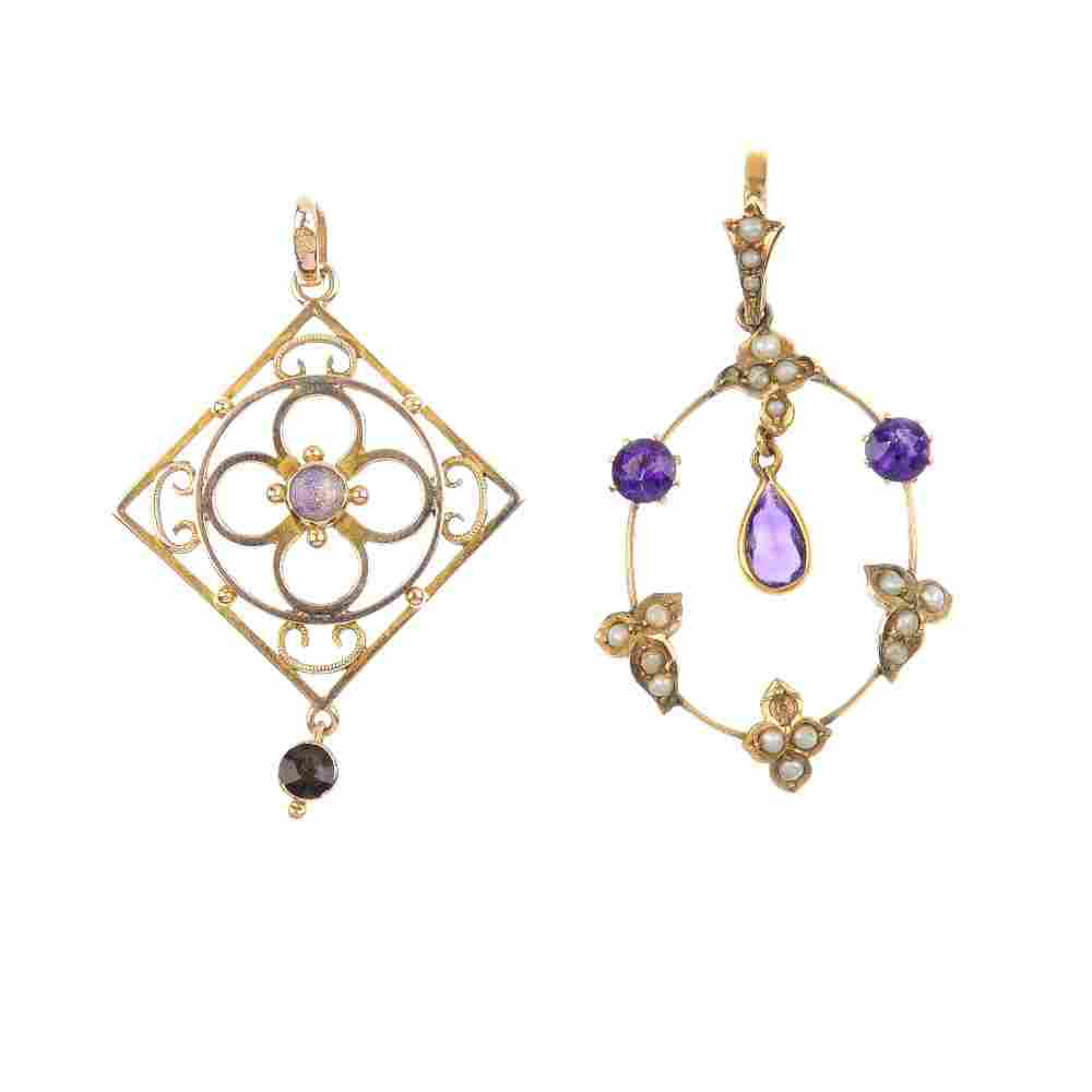 Two 9ct gold Edwardian gem-set pendants. To include an