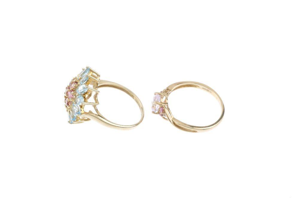 Five 9ct gold gem-set rings. To include a hexagonal - 2