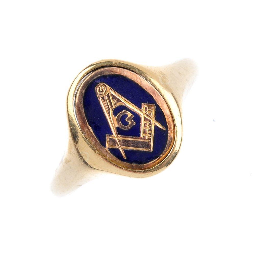 A mid 20th century 9ct gold Masonic swivel signet ring.