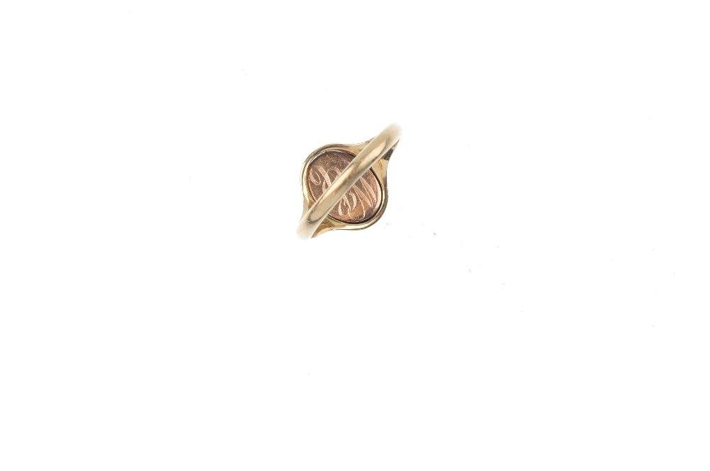A mid 20th century 9ct gold Masonic swivel signet ring. - 2