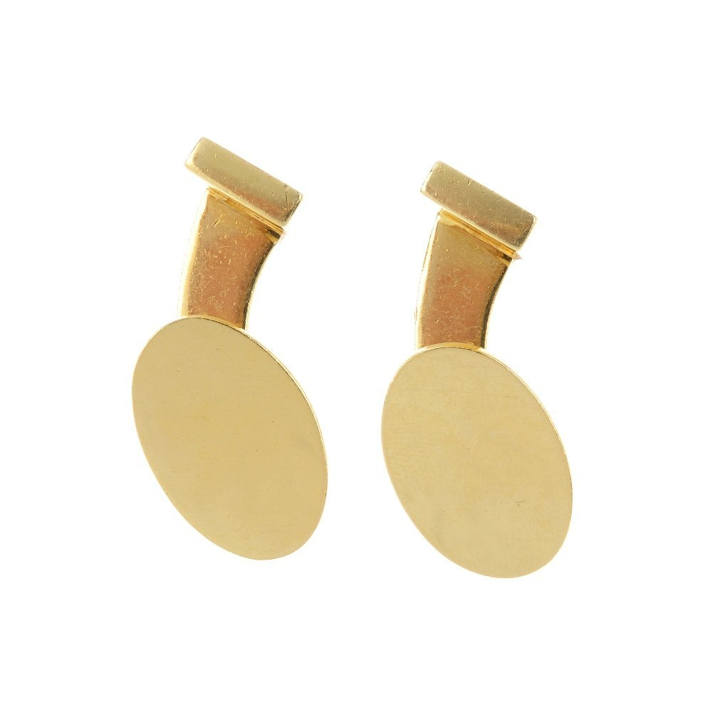 A pair of 18ct gold cufflinks. Each designed as a
