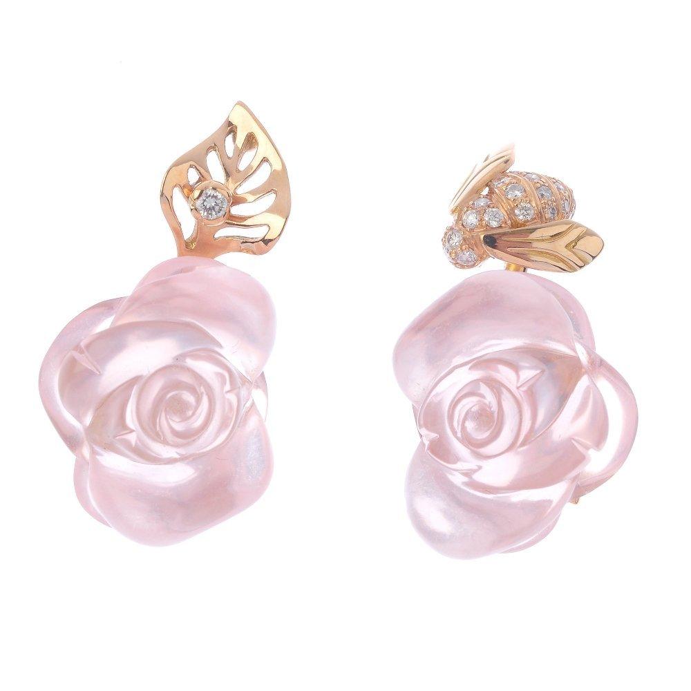 (548057-1-A) DIOR - a pair of rose quartz and diamond