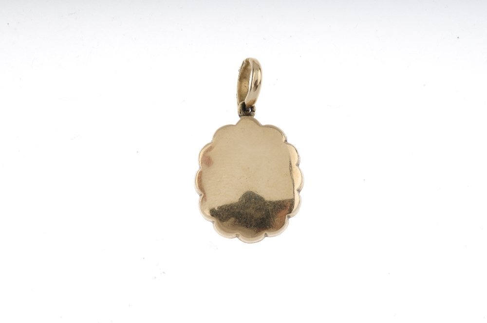 A mid Victorian enamel and diamond photograph pendant. - 2