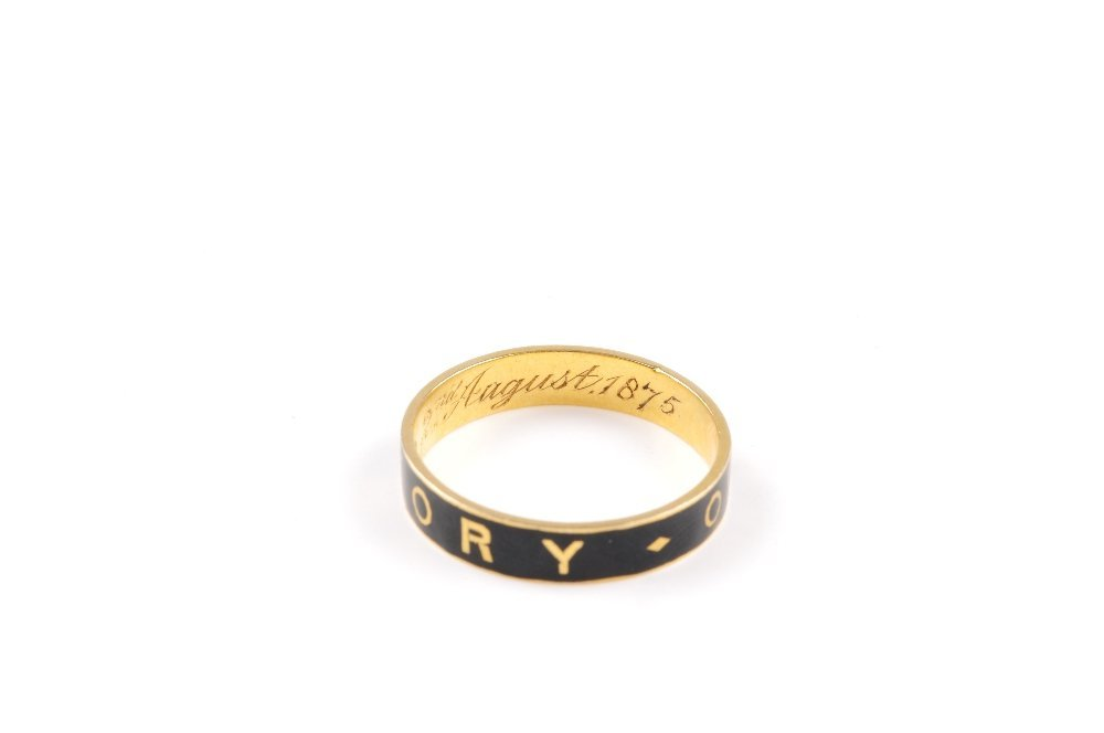 A mid Victorian 18ct gold memorial ring. The black - 2
