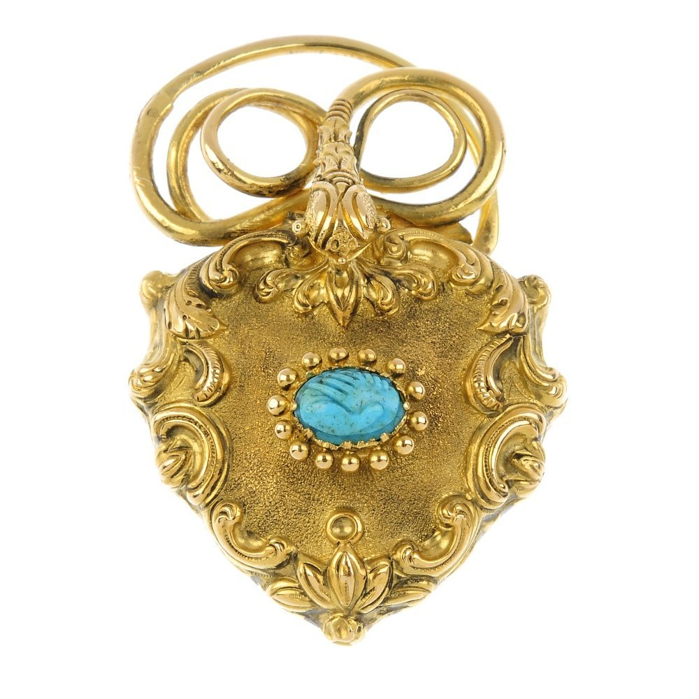 A late 19th century gold and turquoise memorial clasp.