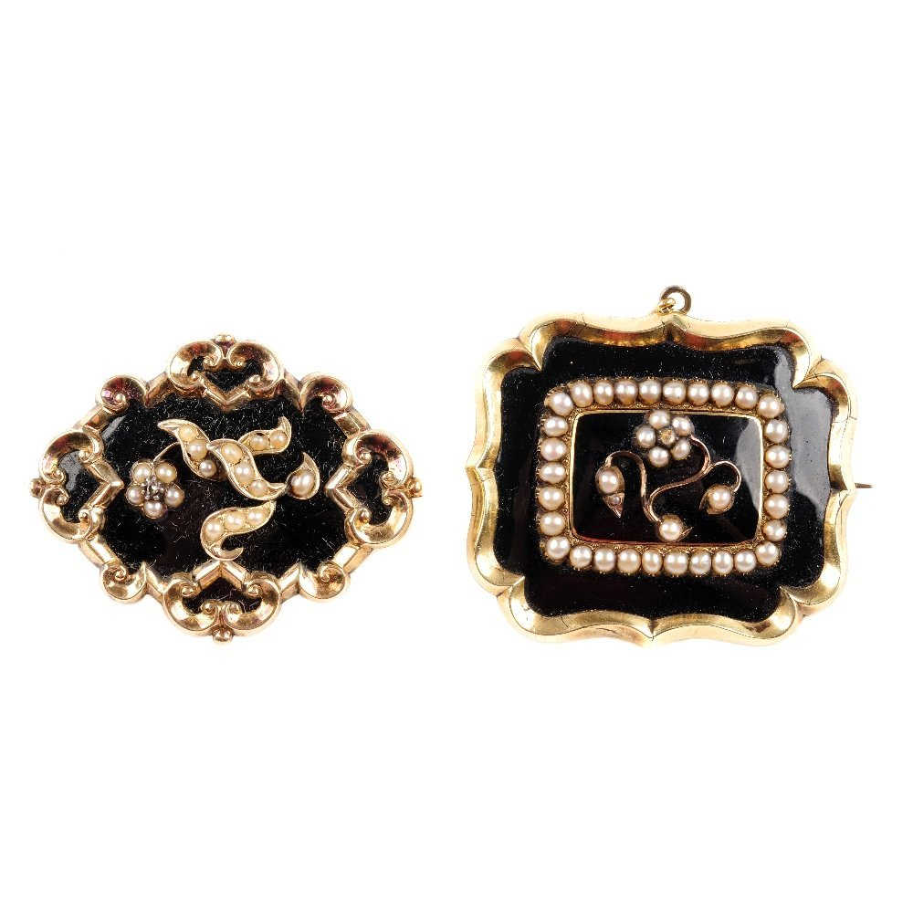 Two early Victorian memorial brooches. The first of