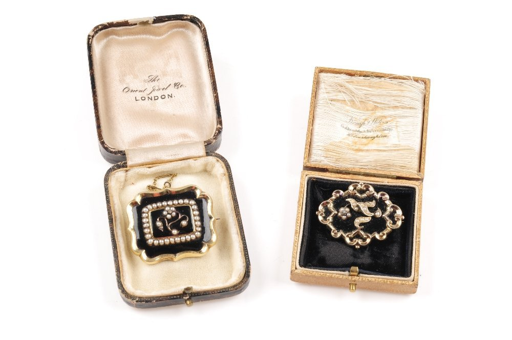 Two early Victorian memorial brooches. The first of - 3