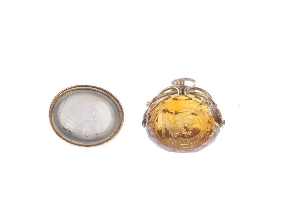 Two fobs. The first a citrine swivel fob, the intaglio - 3